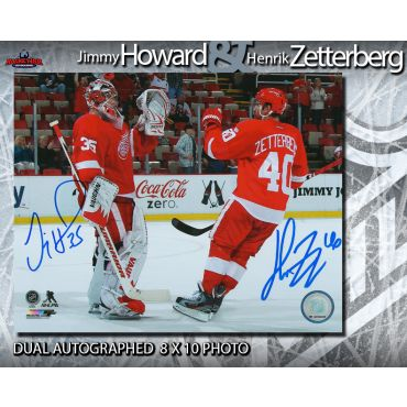 Henrik Zetterberg and Jimmy Howard Autographed Detroit Red Wings 8 x 10 Photo