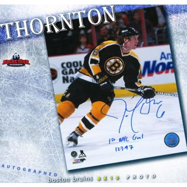 Joe Thornton Boston Bruins Autographed with 1st Goal 12-3-97 Inscriptin 8 x 10 Photo