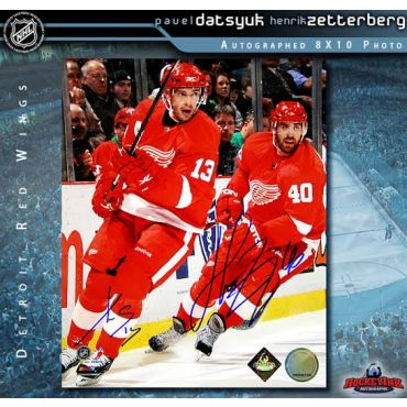 Pavel Datsyuk and Henrik Zetterberg Detroit Red Wings Autographed 8 x 10 Photo