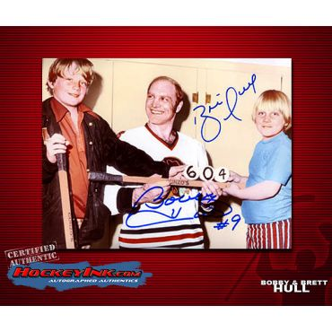 Bobby Hull and Sons signed by Brett and Bobby 8 x 10 Autographed Photo