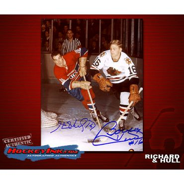 Bobby Hull and Henri Richard  8 x 10 Autographed Photo