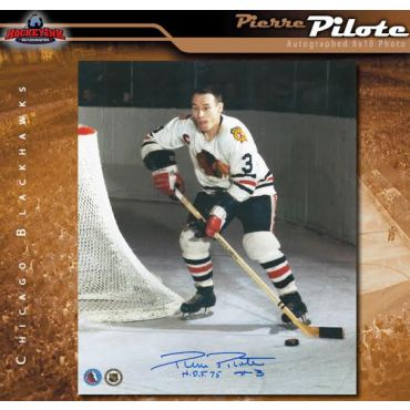 Pierre Pilote Chicago Blackhawks Autographed 8 x 10 Photo