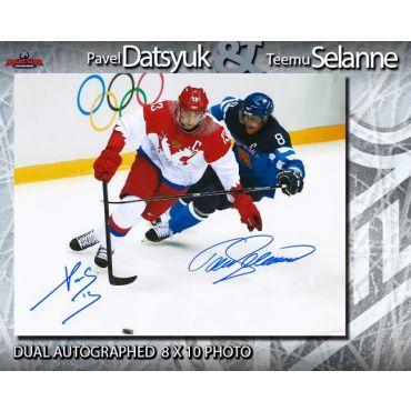 Pavel Datsyuk and Teemu Selanne Dual Autographed 8 x 10 Photo