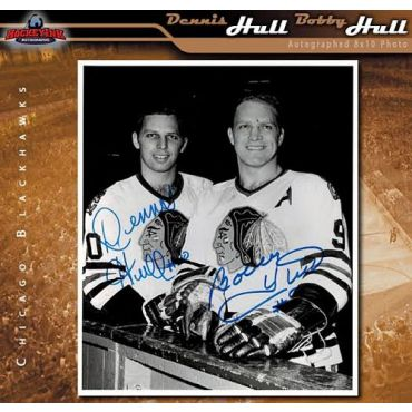Dennis Hull and Bobby Hull Chicago Blackhawks 8 x 10 Autographed Photo