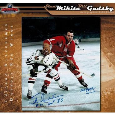 Stan Mikita Chicago Blackhawks and Bill Gadsby Detroit Red Wings 8 x 10 Autographed Photo