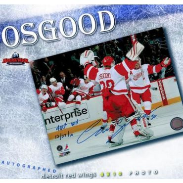 Chris Osgood 400th Win Detroit Red Wings 8 x 10 Autographed and Inscribed Photo