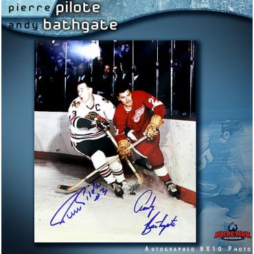 Pierre Pilote and Andy Bathgate 8 x 10 Autographed Photo
