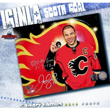 Jarome Iginla Calgary Flames 500th Goal Autographed and Inscribed 8 x 10 Photo