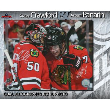 Corey Crawford and Artemi Panarin Dual Autographed Chicago Blackhawks 8 x 10 Photo