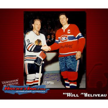 Bobby Hull and Jean Beliveau Shaking Hands  16 x 20 Autographed Photo
