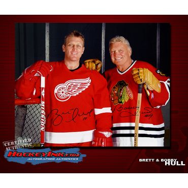 Brett and Bobby Hull 16 x 20 Autographed Photo