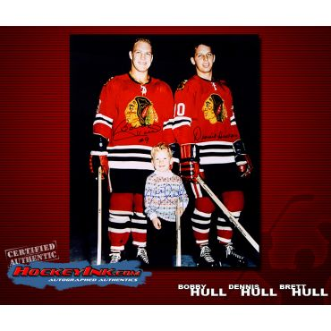 Brett, Bobby and Dennis Hull 16 x 20 Autographed Photo