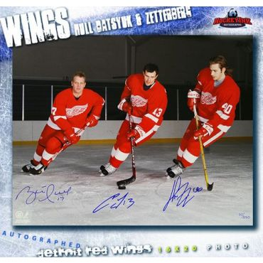 Henrik Zetterberg Pavel Datsyuk and Brett Hull Detroit Red Wings Autographed 16 x 20 Photo