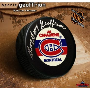 Bernie Geoffrion Montreal Canadiens Autographed Hockey Puck
