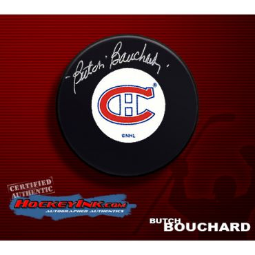 Emile Bouchard Montreal Canadiens Autographed Hockey Puck
