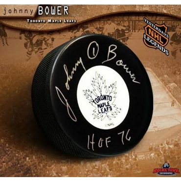 Johnny Bower Toronto Maple Leafs Autographed Hockey Puck