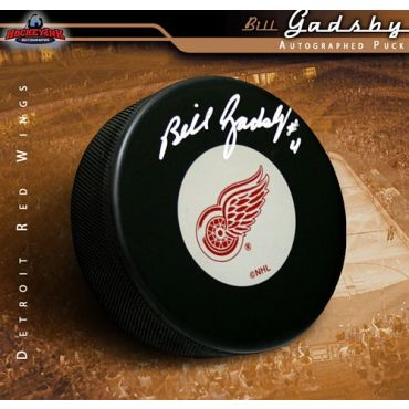 Bill Gadsby Detroit Red Wings Autographed Hockey Puck
