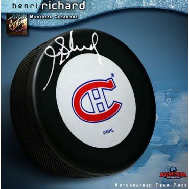 Henri Richard Montreal Canadiens Autographed Hockey Puck