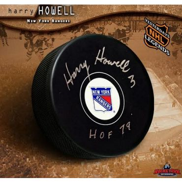 Harry Howell New York Rangers Autographed and Inscribed Hockey Puck
