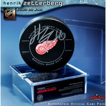 Henrik Zetterberg Detroit Red Wings Autographred Official Game Hockey Puck