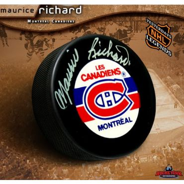 Maurice Richard Montreal Canadiens Autographed Hockey Puck