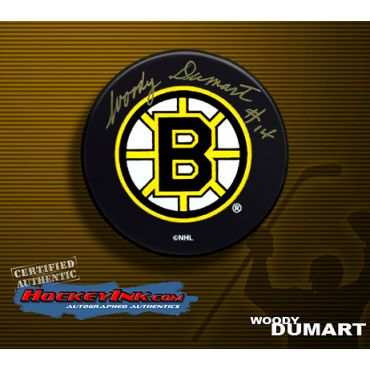 Woody Dumart Boston Bruins Autographed Hockey Puck