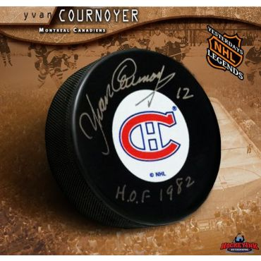 Yvan Cournoyer Original Six Montreal Canadiens Autographed Hockey Puck with Hall of Fame Inscription