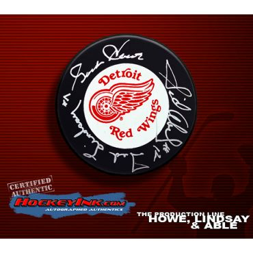 Production Line Detroit Red Wings Autographed Hockey Puck