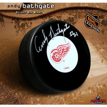 Andy Bathgate Redwings Autographed Hockey Puck