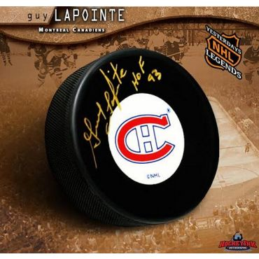 Guy Lapointe Autographed Puck