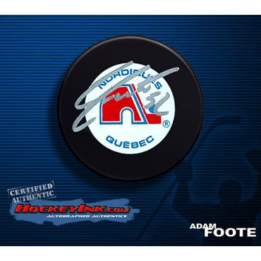 Adam Foote Quebec Nordiques Autographed Hockey Puck