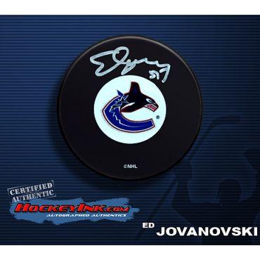 Ed Jovanovski Autographed Canucks Hockey Puck