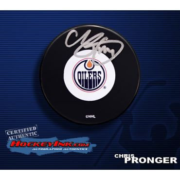 Chris Pronger Autographed Oilers Hockey Puck