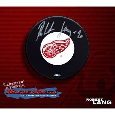 Robert Lang Autographed Red Wings Hockey Puck