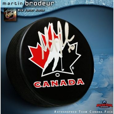 Martin Brodeur Autographed Team Canada Hockey Puck