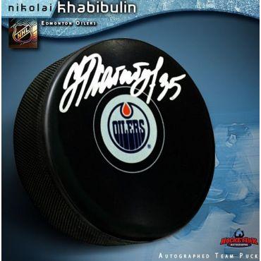 Nikolai Khabibulin Edmonton Oilers Autographed Hockey Puck