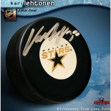 Kari Lehtonen Autographed Dallas Stars Hockey Puck