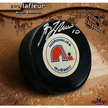 Guy Lafleur Quebec Nordiques Autographed Hockey Puck