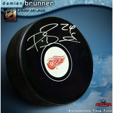 Damien Brunner Detroit Red Wings Autographed Hocky Puck