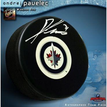 Ondrej Pavelec Winnipeg Jets Autographed Hockey Puck