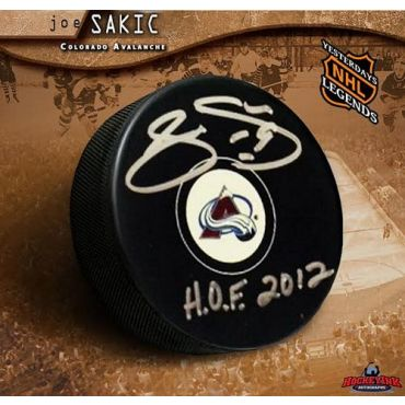 Joe Sakic Colorado Avalanche Autographed Hockey Puck with Hall of Fame Inscription
