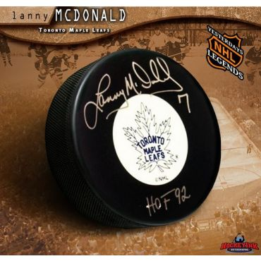 Lanny McDonald Toronto Maple Leafs Autographed Original 6 Hockey Puck