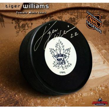 Tiger Williams Toronto Maple Leafs Autographed Original 6 Hockey Puck
