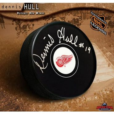 Dennis Hull Detroit Red Wings Autographed Hockey Puck