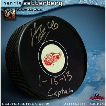 Henrik Zetterberg Detroit Red Wings Autographed and Inscribed Hockey Puck