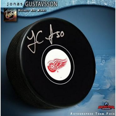 Jonas Gustavsson Detroit Red Wings Autographed Hockey Puck