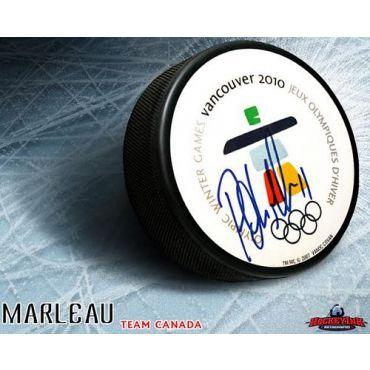 Patrick Marleau Team Canada Autographed 2010 Olympic Logo Puck