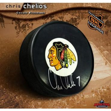 Chris Chelios Chicago Blackhawks Autographed Hockey Puck