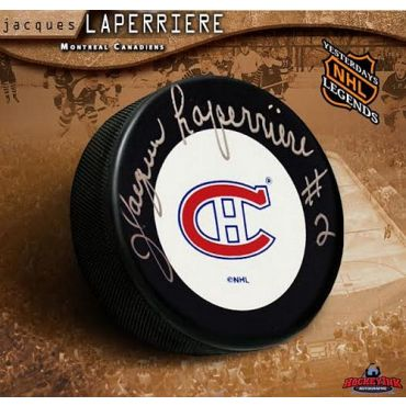 Jacques Laperriere Montreal Canadiens Autographed Hockey Puck