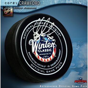 Corey Crawford Chicago Blackhawks Autographed Winter Classic 2015 Official Game Hockey Puck